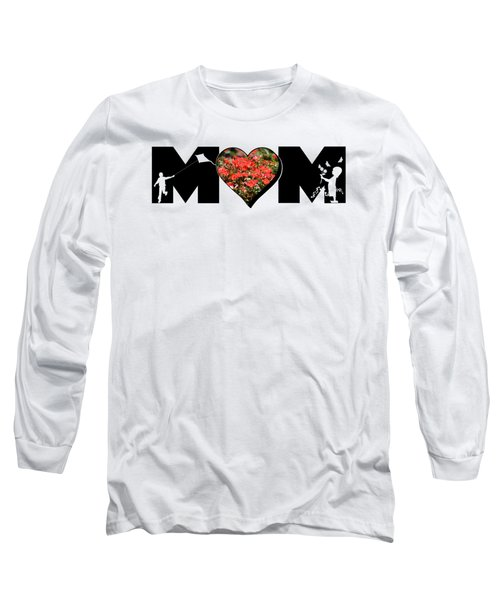 Little Girl And Boy Silhouette In Mom Big Letter With Cluster Of Red Roses In Heart Long Sleeve T-Shirt