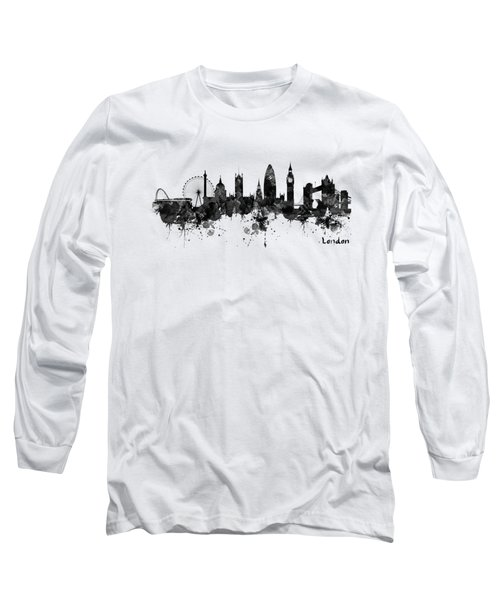 London Black And White Watercolor Skyline Silhouette Long Sleeve T-Shirt