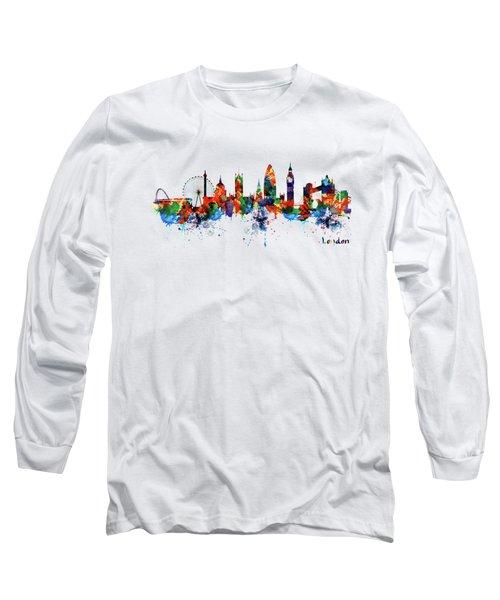 London Watercolor Skyline Silhouette Long Sleeve T-Shirt