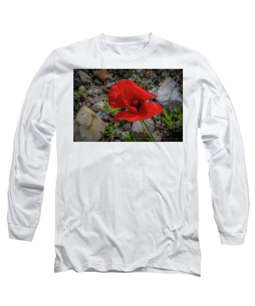 Lone Red Flower Long Sleeve T-Shirt