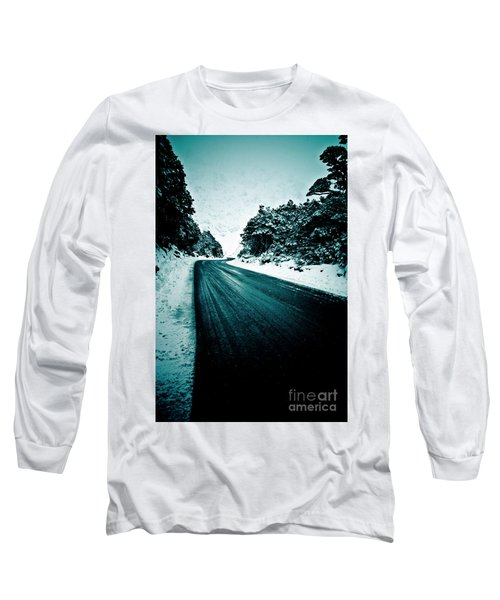 Lonely Road In The Countryside For A Car Trip And Disconnect From Stress Long Sleeve T-Shirt