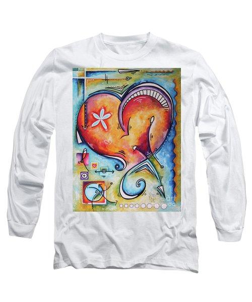 Love Eternal Original Acrylic Heart Love Painting By Megan Duncanson  Long Sleeve T-Shirt