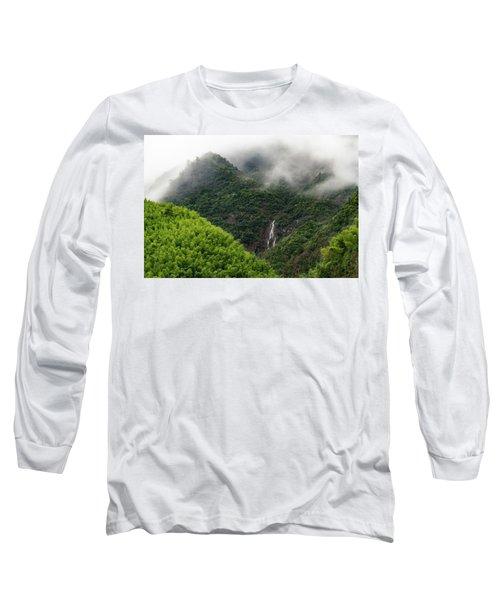 Misty Mountain Waterfall Long Sleeve T-Shirt