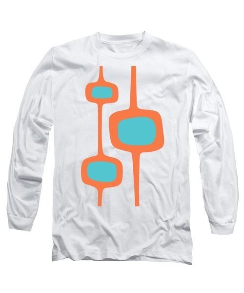 Mod Pod Three In Turquoise And Orange Long Sleeve T-Shirt