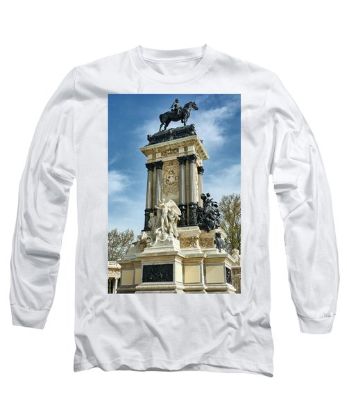 Monument To King Alfonso Xii At Retiro Park In Madrid, Spain Long Sleeve T-Shirt