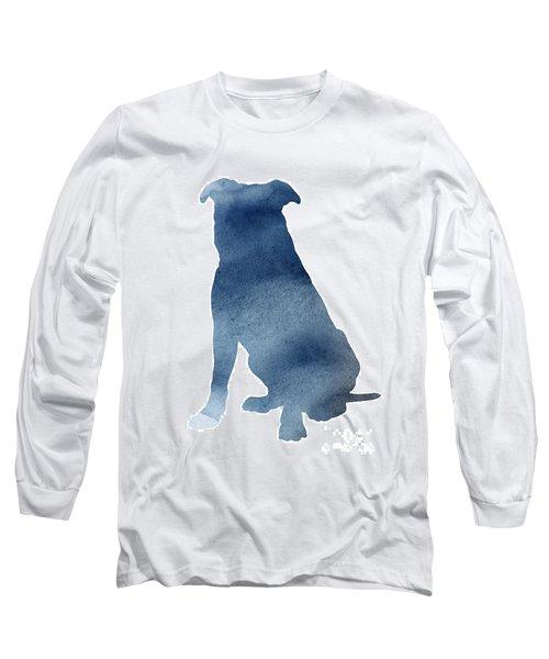 Navy Blue Pitbull Silhouette Sitting Facing Left  Long Sleeve T-Shirt