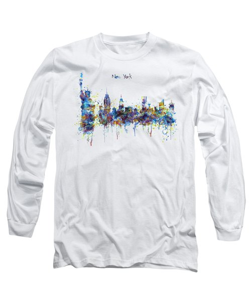 New York Watercolor Skyline Long Sleeve T-Shirt