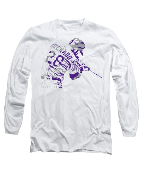 Nolan Arenado Colorado Rockies Pixel Art 1 Long Sleeve T-Shirt