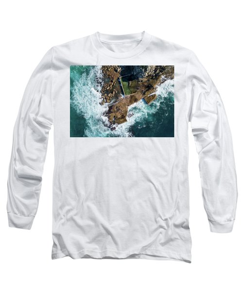 Long Sleeve T-Shirt featuring the pyrography North Curl Curl Pool by Chris Cousins
