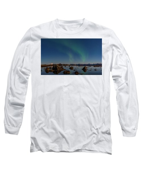 Northern Lights Over A Swamp  Long Sleeve T-Shirt