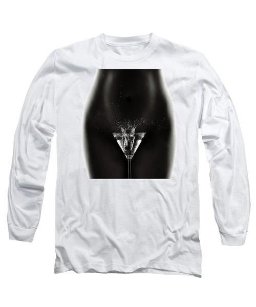 Nude Woman With Martini Splash Long Sleeve T-Shirt