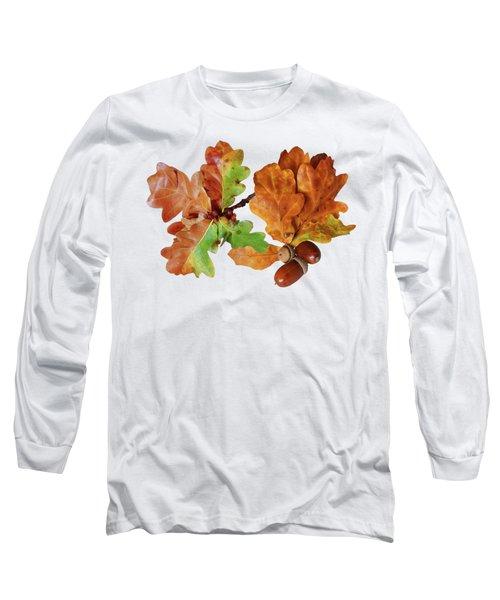 Oak Leaves And Acorns On White Long Sleeve T-Shirt