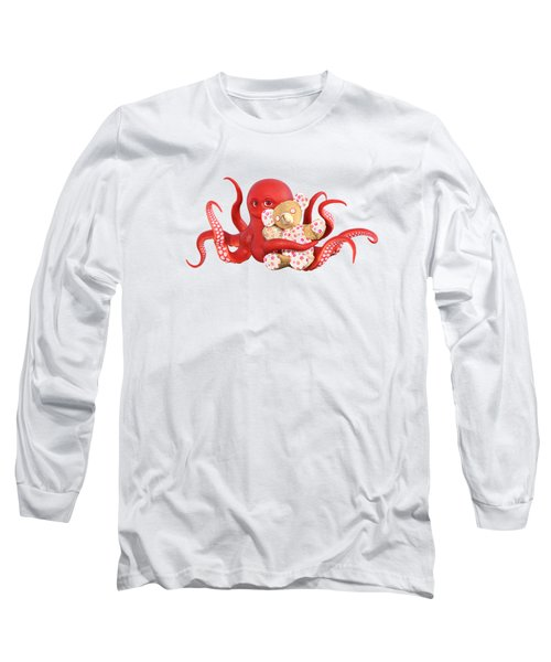 Octopus Red With Bear Long Sleeve T-Shirt