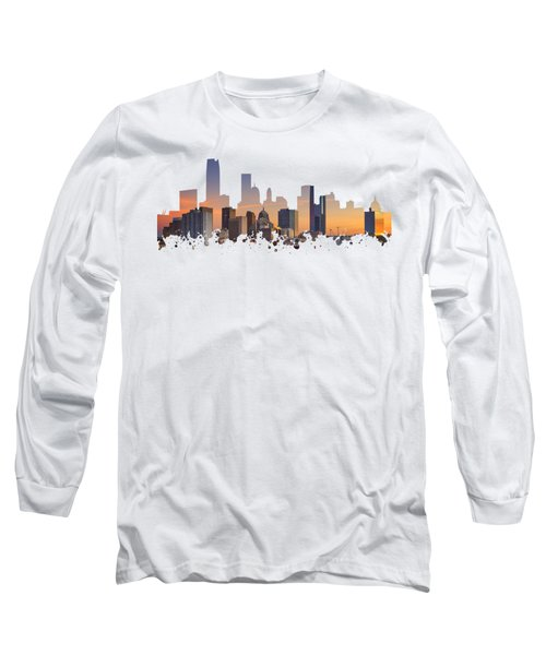 Okc Skyline Sunset Silhouette Long Sleeve T-Shirt