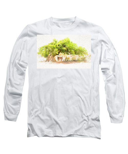 Old Leaning Tree At Sandy Hill  Anguilla Long Sleeve T-Shirt