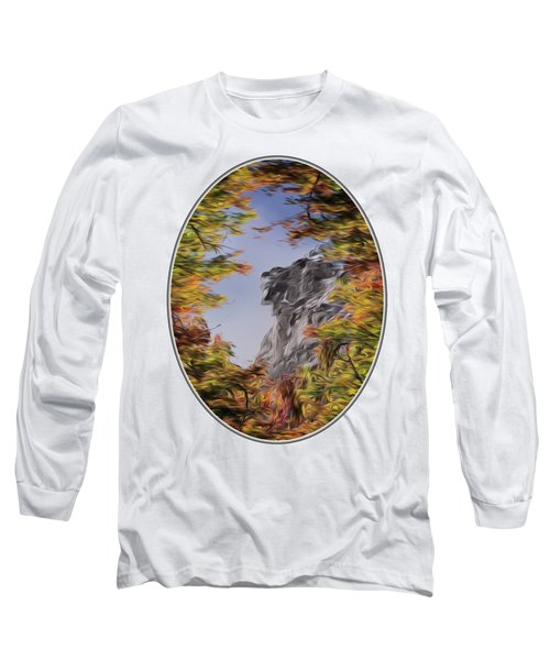 Old Man Oil Paint Transparent Oval Long Sleeve T-Shirt