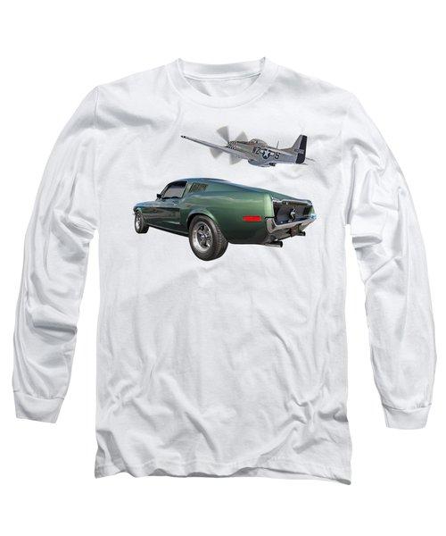 P51 With Bullitt Mustang Long Sleeve T-Shirt