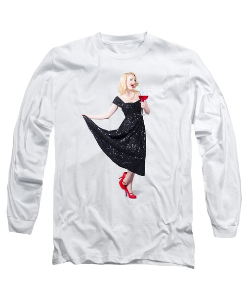 Party Woman In A Black Sequin Dress Long Sleeve T-Shirt