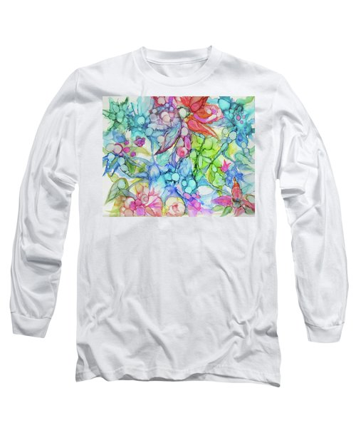 Pastel Flowers - Alcohol Ink Long Sleeve T-Shirt