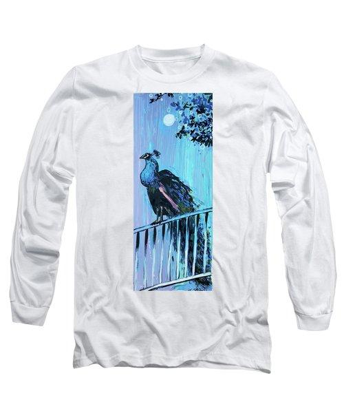 Peacock On A Fence Long Sleeve T-Shirt