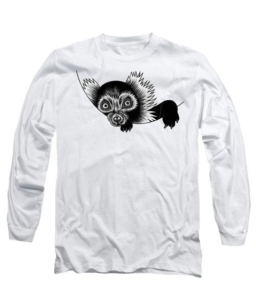 Peeking Lemur - Ink Illustration Long Sleeve T-Shirt