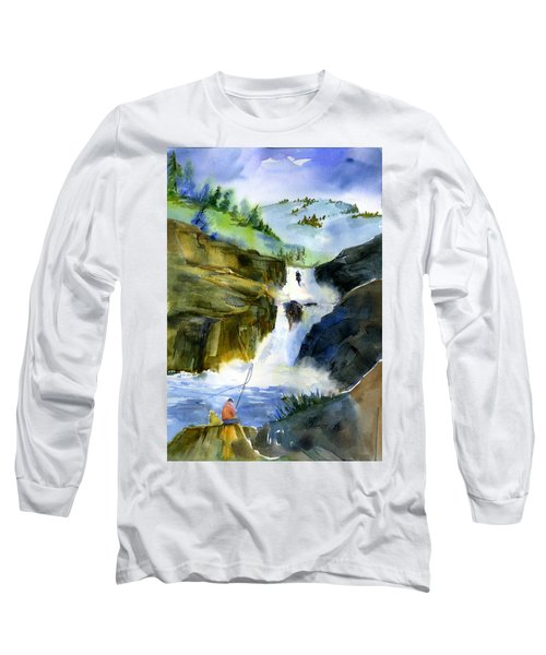 Petroglyph Falls Fishing Long Sleeve T-Shirt