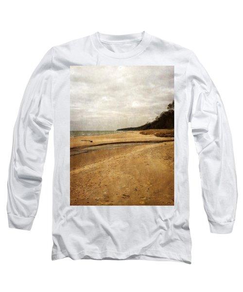 Pier Cove Beach With Driftwood Long Sleeve T-Shirt