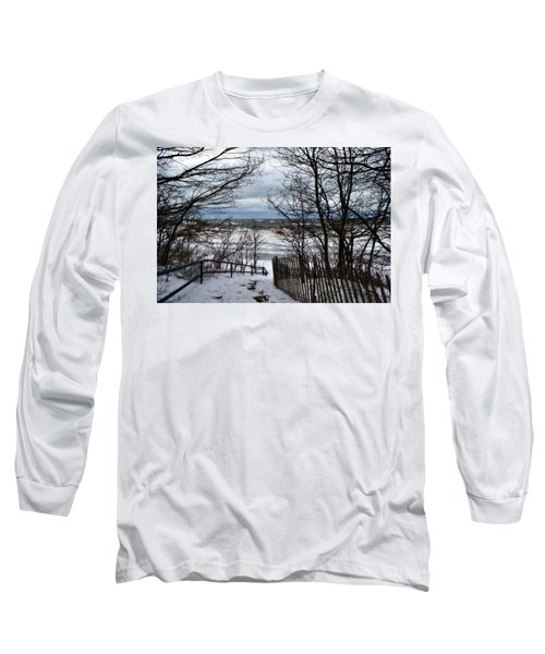 Pier Cove Beach With Winter Waves Long Sleeve T-Shirt