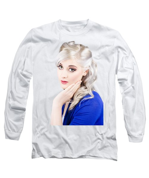 Pin Up Girl With Soft Clean Skin Long Sleeve T-Shirt
