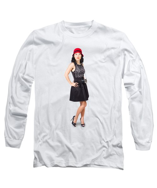 Pin Up Lady With Retro Film Camera Long Sleeve T-Shirt