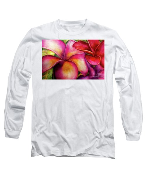 Pink And Red Plumerias Long Sleeve T-Shirt