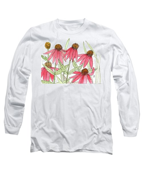 Pink Coneflowers Gather Watercolor Long Sleeve T-Shirt