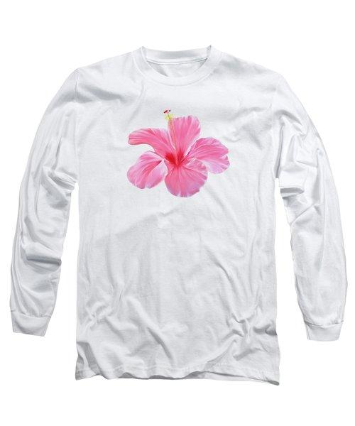 Pink Hibiscus Long Sleeve T-Shirt