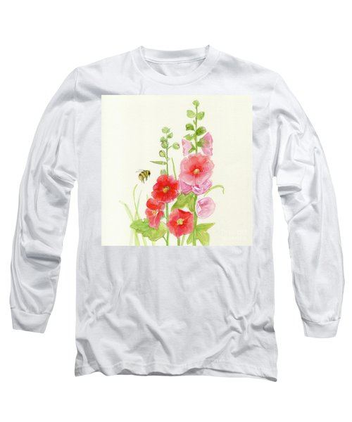 Pink Hollyhock Watercolor Long Sleeve T-Shirt