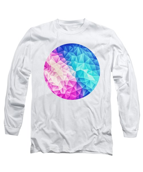 Pink Ice Blue  Abstract Polygon Crystal Cubism Low Poly Triangle Design Long Sleeve T-Shirt