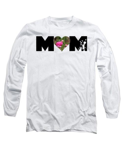 Pink Ranunculus In Heart Mom Big Letter-girls Long Sleeve T-Shirt