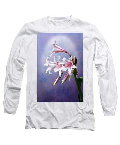 Pink Striped White Lily Flowers Long Sleeve T-Shirt