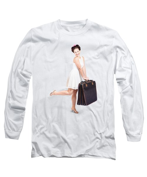Pinup Model Doing A Hop And Skip With Travel Case Long Sleeve T-Shirt