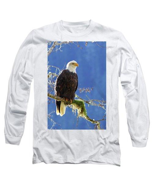 Portrait Of A Backlit Bald Eagle In Squamish Long Sleeve T-Shirt