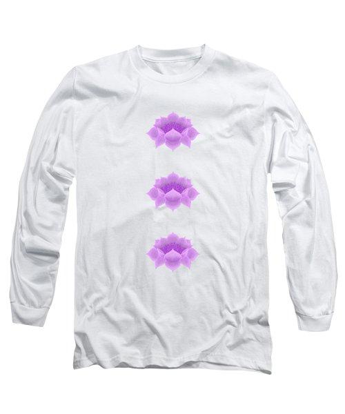 Purple Lotus Pattern Long Sleeve T-Shirt