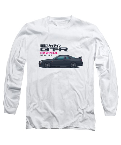R34 Gt-r - Landscape Black Long Sleeve T-Shirt