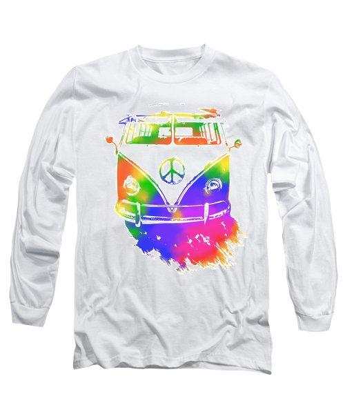 Rainbow Colored Peace Bus Long Sleeve T-Shirt