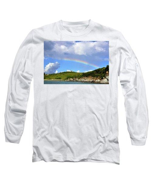 Rainbow Over Buck Island Lighthouse Long Sleeve T-Shirt