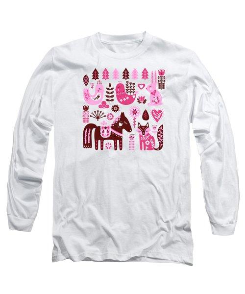 Raspberry And Cream Scandinavian Folk Art Forest Friends Long Sleeve T-Shirt