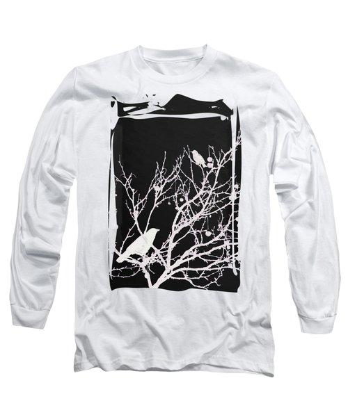Raven - White Over Black Long Sleeve T-Shirt