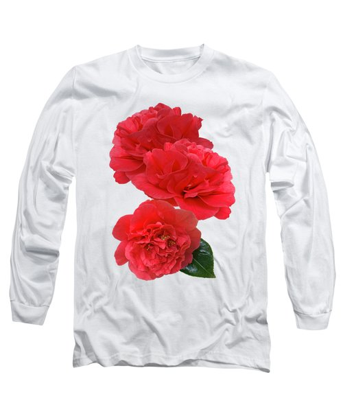 Red Camellias On White Vertical Long Sleeve T-Shirt