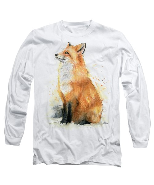 Red Fox Watercolor Pattern Long Sleeve T-Shirt
