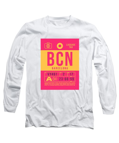Retro Airline Luggage Tag 2.0 - Bcn Barcelona Spain Long Sleeve T-Shirt