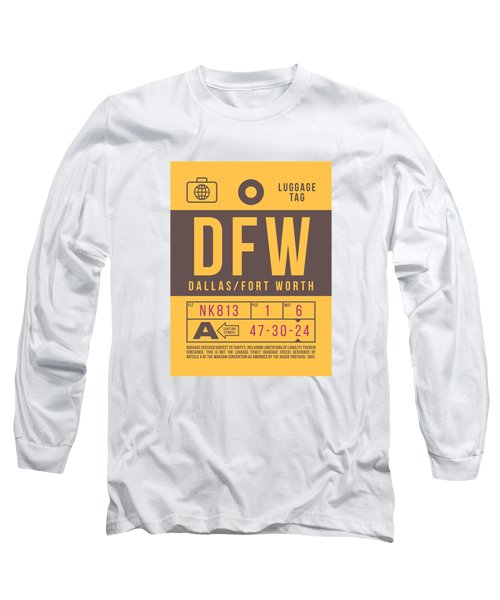 Retro Airline Luggage Tag 2.0 - Dfw Dallas Fort Worth United States Long Sleeve T-Shirt