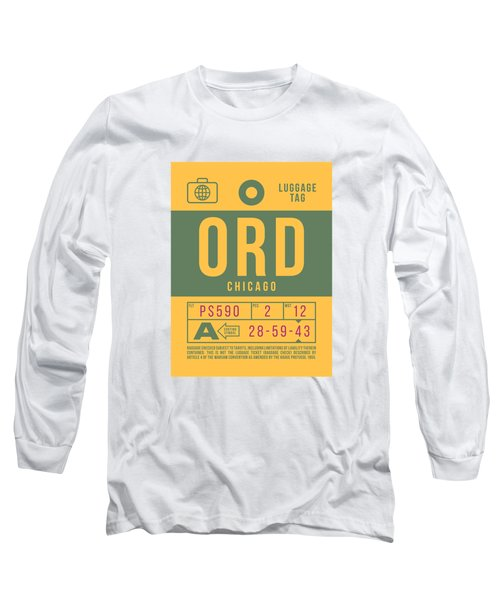 Retro Airline Luggage Tag 2.0 - Ord Chicago O'hare Airport United States Long Sleeve T-Shirt